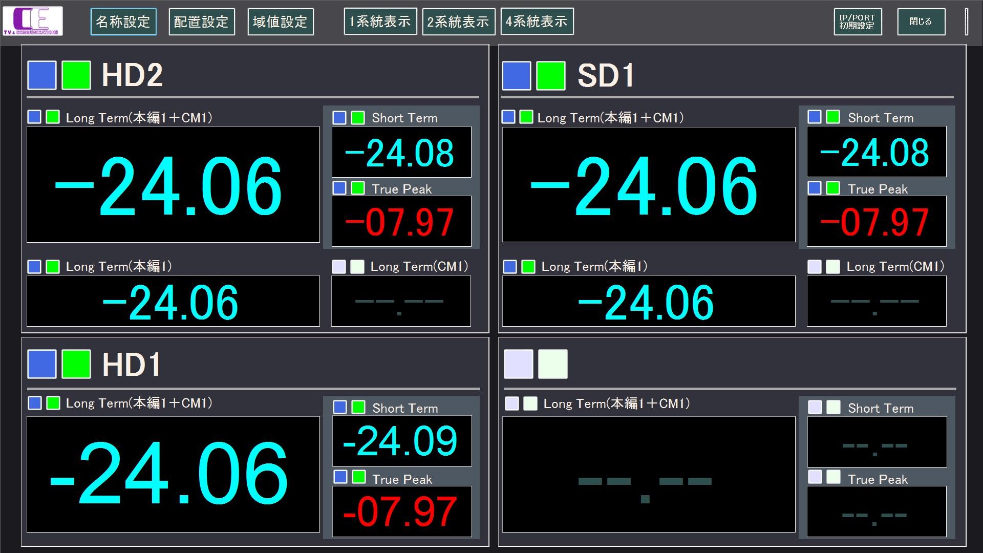 モニター画面-4系統表示
